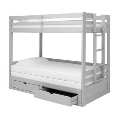 Jasper Dove Gray Twin to King Extending Day Bed with Bunk Bed and Storage Drawers