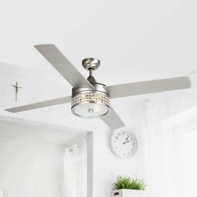 52 in. Satin Nickel Crystal Ceiling Fan with Light Kit and Remote Control