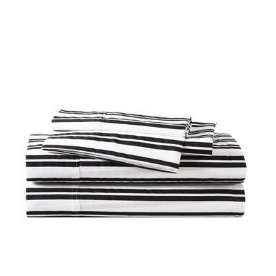 Classic Ticking Stripe 4-Piece Black T500 Antibacterial Cotton Blend King Sheet Set