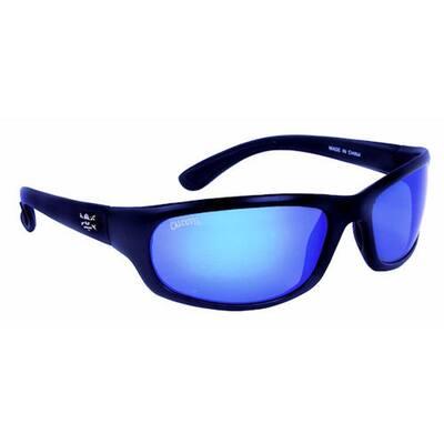 Black Frame Steelhead Sunglasses with Blue Mirror Lens