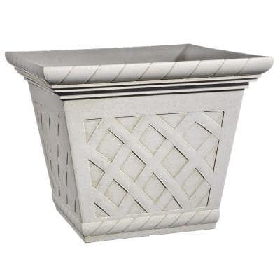 17 in. Antique Ivory Bingham Resin Square Planter
