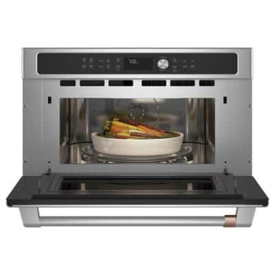30 in. 1.7 cu. ft. Single Electric Convection Wall Oven with Built-In Microwave in Stainless Steel