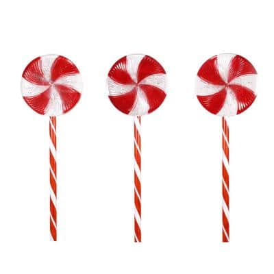 28 in. Tall Candy Cane Pathway with Red and White LED Lights, Set of 3