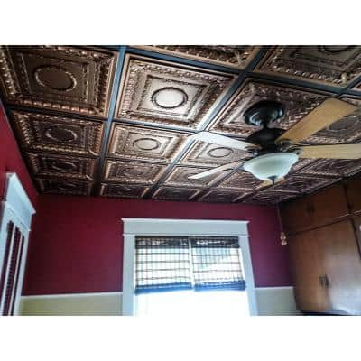 Royal 2 ft. x 2 ft. Lay-in or Glue-up Ceiling Tile in Antique Bronze (40 sq. ft. / case)