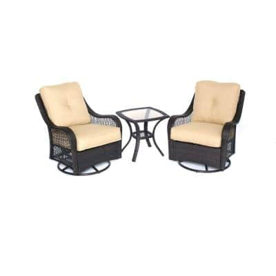 Orleans 3-Piece All-Weather Wicker Patio Swivel Rocking Chat Set with Sahara Sand Cushions