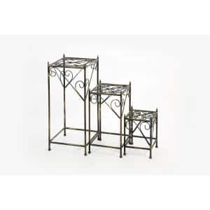 13 in. , 20.5 in., 28 in. Black/Gold Square Cast Metal Indoor Plant Stand (Set Of 3)