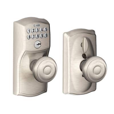 Camelot Satin Nickel Electronic Door Lock with Georgian Door Knob Featuring Flex Lock