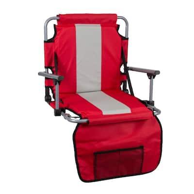 Red/Tan Tubular Frame Folding Stadium Seat with Arms