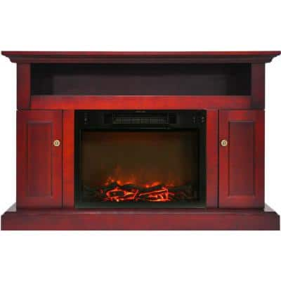 Kingsford 47 in. Electric Fireplace with 1500-Watt Log Insert and Entertainment Stand in Cherry