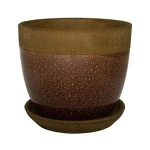 8 in. Dia Brown Geode Ceramic Planter