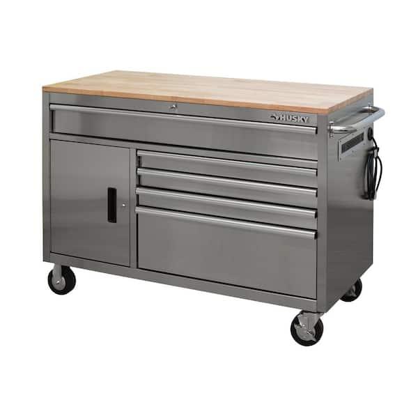 Husky 52 In W 5 Drawer 1 Door Deep, Stainless Steel Tool Cabinet