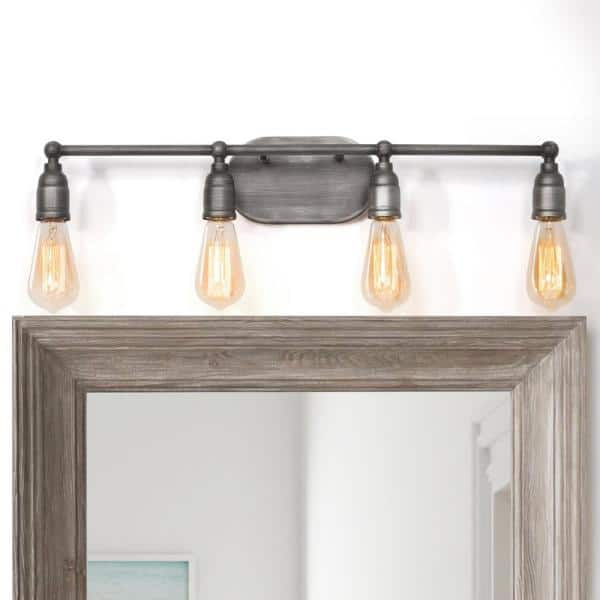 Lnc Modern Industrial Bathroom Vanity Light Grove 4 Light Brushed Gray Iron Vanity Light With Rustic Water Pipe Design A03392 The Home Depot