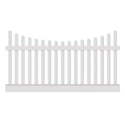 Hampshire 3 ft. H x 6 ft. W White Vinyl Picket Fence Panel Kit