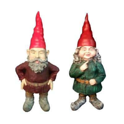 14 in. H Gnomes of Toad Hollow-Merlin and Zelda The Female Garden Gnome Couple Figurine Statue