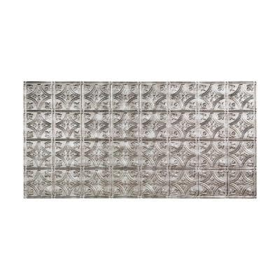 Traditional #1 2 ft. x 4 ft. Glue Up Vinyl Ceiling Tile in Crosshatch Silver (40 sq. ft.)