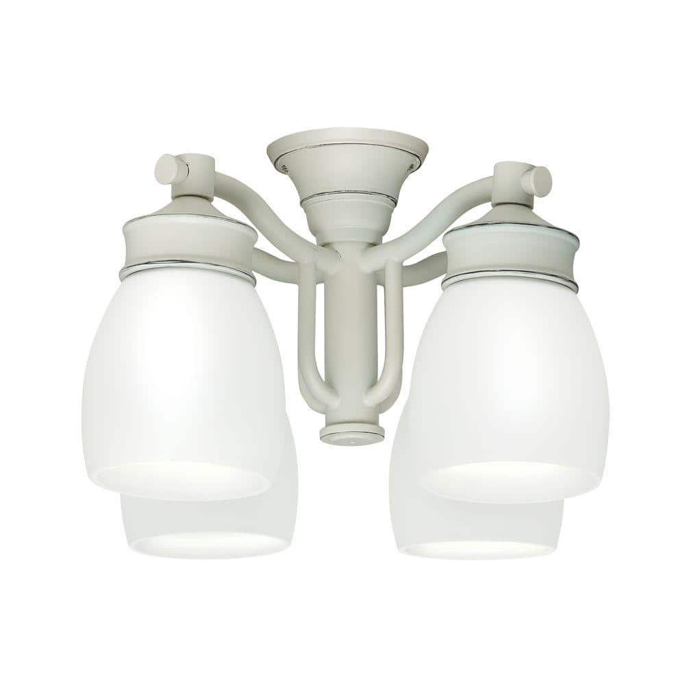 Casablanca 4 Light Cottage White Ceiling Fan Fixture With Cased White Glass 99089 The Home Depot