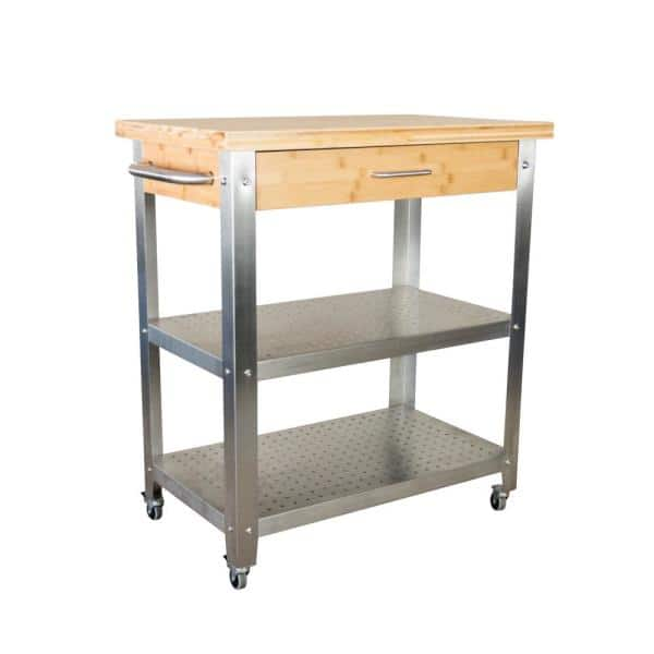 Eccostyle 1 Drawer 2 Shelf Natural Bamboo Stainless Steel Rolling Kitchen Cart With Side Dishtowel Bar Caekn0053sm3 The Home Depot
