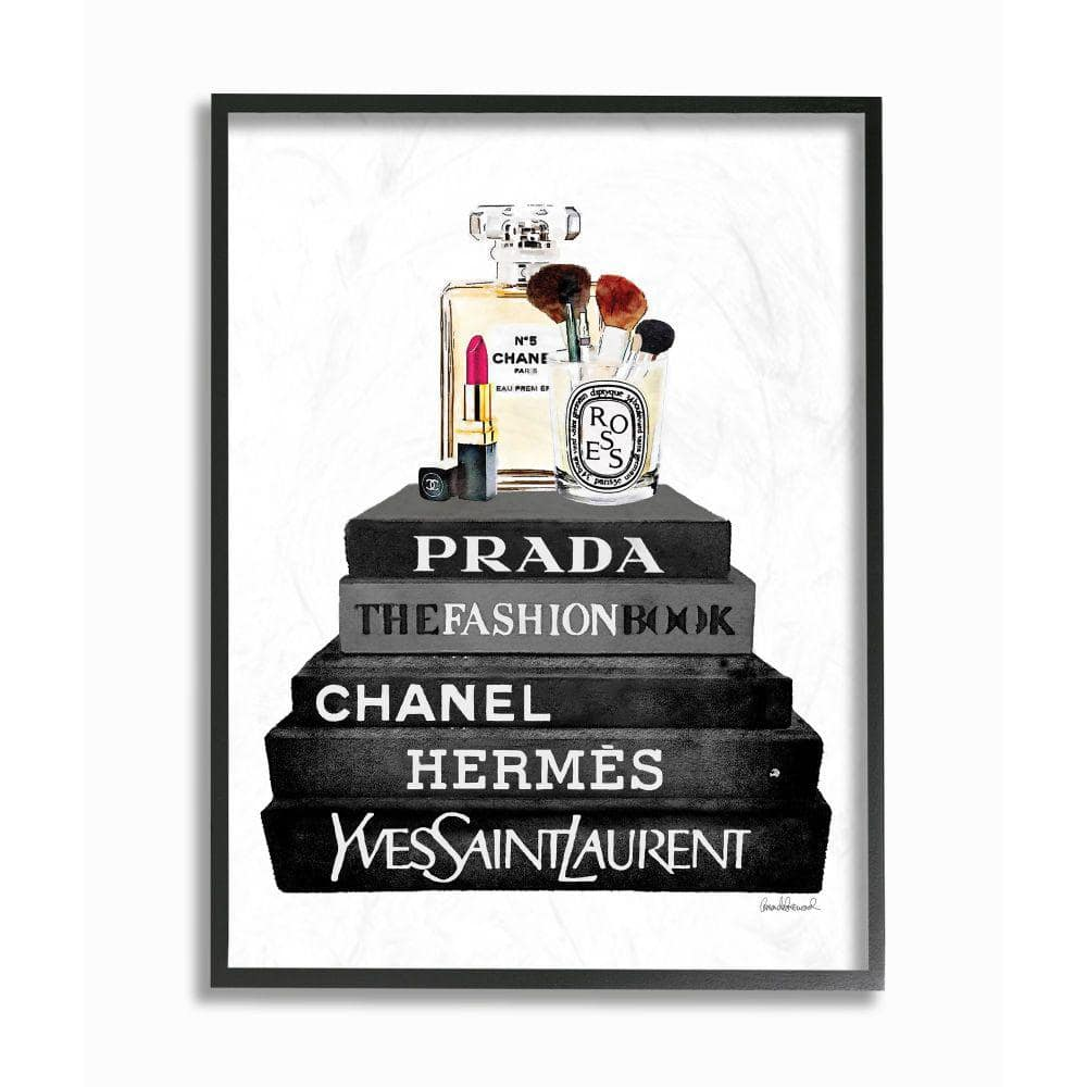 Stupell Industries Fashion Designer Makeup Bookstack Black And White Watercolor Amanda Greenwoodframed Abstract Wall Art 14 In X 11 In Agp 204 Fr 11x14 The Home Depot