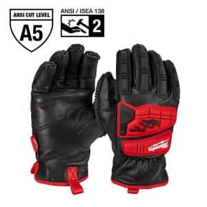 Large Level 5 Cut Resistant Goatskin Leather Impact Gloves