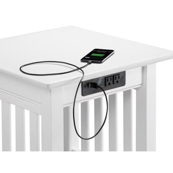 Atlantic Furniture Mission White End, Electronic Charging Station Furniture