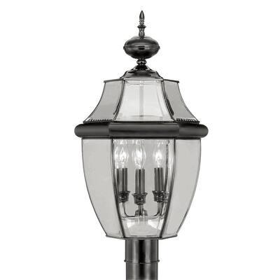 Monterey 3 Light Black Outdoor Post Top Lantern