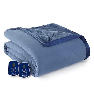Reverse to Ultra Velvet Queen Indigo Electric Comforter/Blanket
