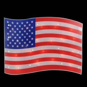 12.5 in. H x 17 in. L Lighted Holographic Red White and Blue American Flag Window Silhouette Decoration