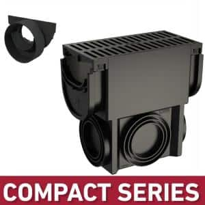 Compact Series Slim Drainage Pit/Catch Basin for 3.2 in. Modular Trench/Channel Drain Systems with Multi Pipe Adapter