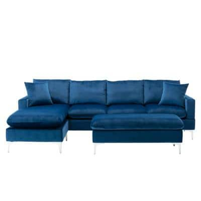Witten 103 in. Navy Blue Velvet 4 Seats Sofa and Chaise with Convertible Couch and Ottoman