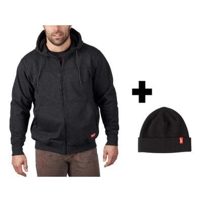 Men's Large Black No Days Off Hooded Sweatshirt with Black Cuffed Knit Hat