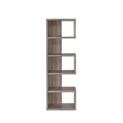 5-Shelf Semi-Backless Bookcase Weathered Grey