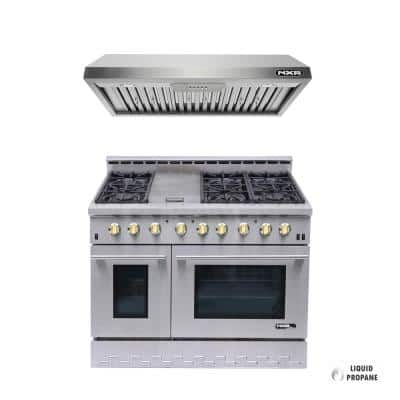 Entree Bundle 48 in. 7.2 cu.ft. Pro-Style Liquid Propane Gas Range Convection Oven and Hood in Stainless Steel and Gold