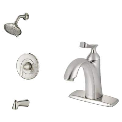 Chatfield Single-Handle 3-Spray Tub and Shower Faucet and Single Hole Bathroom Faucet Set in Brushed Nickel