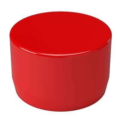 1-1/4 in. Furniture Grade PVC External Flat End Cap in Red (10-Pack)