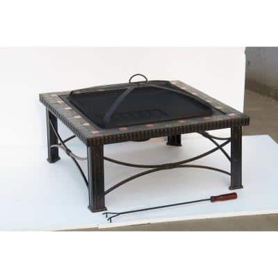 30 in. x 19.5 in. Square Slate Tile Fire Pit