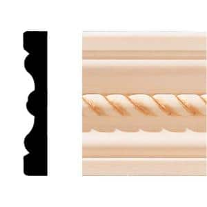 1/2 in. x 3 in. x 7 ft. Hardwood Wood Rope Flute Casing/Chair Rail Moulding