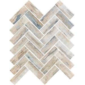 Blue Beige 11 in. x 12.6 in. Herringbone Matte Finished Glass Mosaic Tile (9.63 sq. ft./Case)