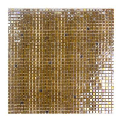 Galaxy Sun Gold Square Mosaic 0.3125 in. x 0.3125 in. Iridescent Glass Wall Tile (0.98 Sq. ft.)