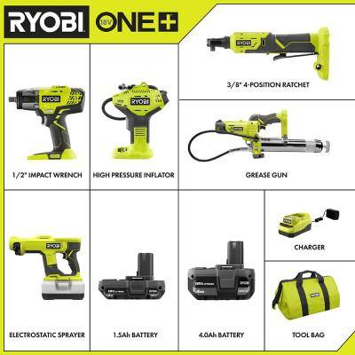 ONE+ 18V Cordless 4-Tool Combo Kit with (3) Batteries, Charger, and 18V Cordless Handheld Electrostatic Sprayer