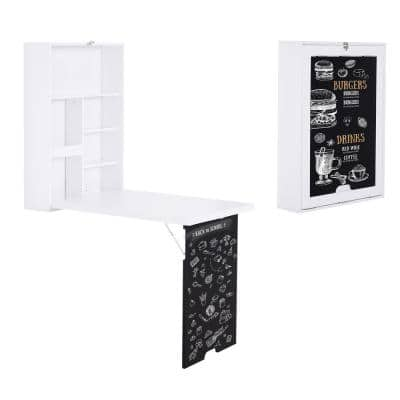 37.25 in. White/Black Floating Fold-Out Desk with Writing Blackboard