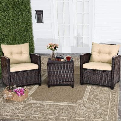 Yellowish Cushion 3-Piece Rattan Wicker Patio Conversation Set Sofa Coffee Table with Yellowish Cushions