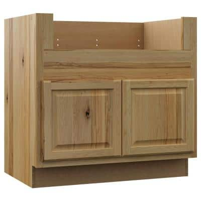 Hampton Assembled 36x34.5x24 in. Farmhouse Apron-Front Sink Base Kitchen Cabinet in Natural Hickory
