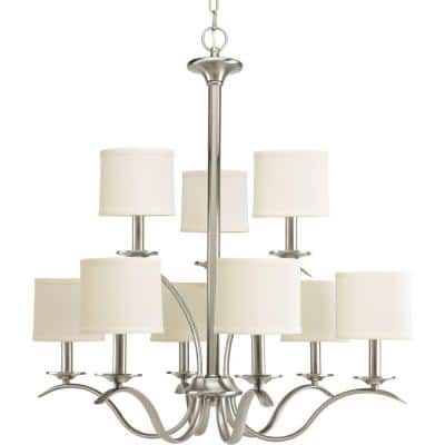 Inspire Collection 9-Light Brushed Nickel Off-White Linen Shade Traditional Chandelier Light