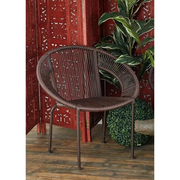 LITTON LANE - Mahogany Brown Tin and Rattan Round Chair