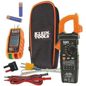 Digital Clamp Meter 600 Amp AC/DC True RMS Auto-Ranging with GFCI Receptable Tester Tool Set
