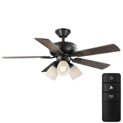 Riley 44 in. Indoor LED Bronze Dry Rated Downrod Ceiling Fan with 5 Reversible Blades, Light Kit and Remote Control
