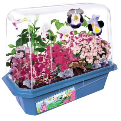 Miniature Worlds Blue Flower Princess Palace Indoor Garden Terrarium Indoor Garden Seed Starter Kit