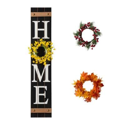 42 in. H Wooden Home Porch Sign, with 3 Changable wreathes (Spring/Fall/Christmas)