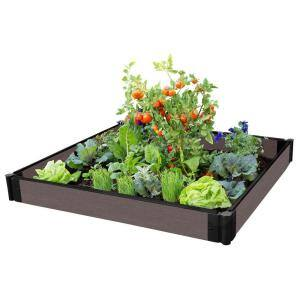 One Inch Series 4 ft. x 4 ft. x 5.5 in. Weathered Wood Composite Raised Garden Bed
