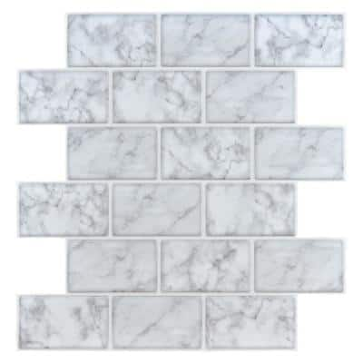 Subway Marble Look 12 in. x 12 in. Eva Peel and Stick Decorative Self-Adhesive Wall Tile Backsplash (10-Tiles)